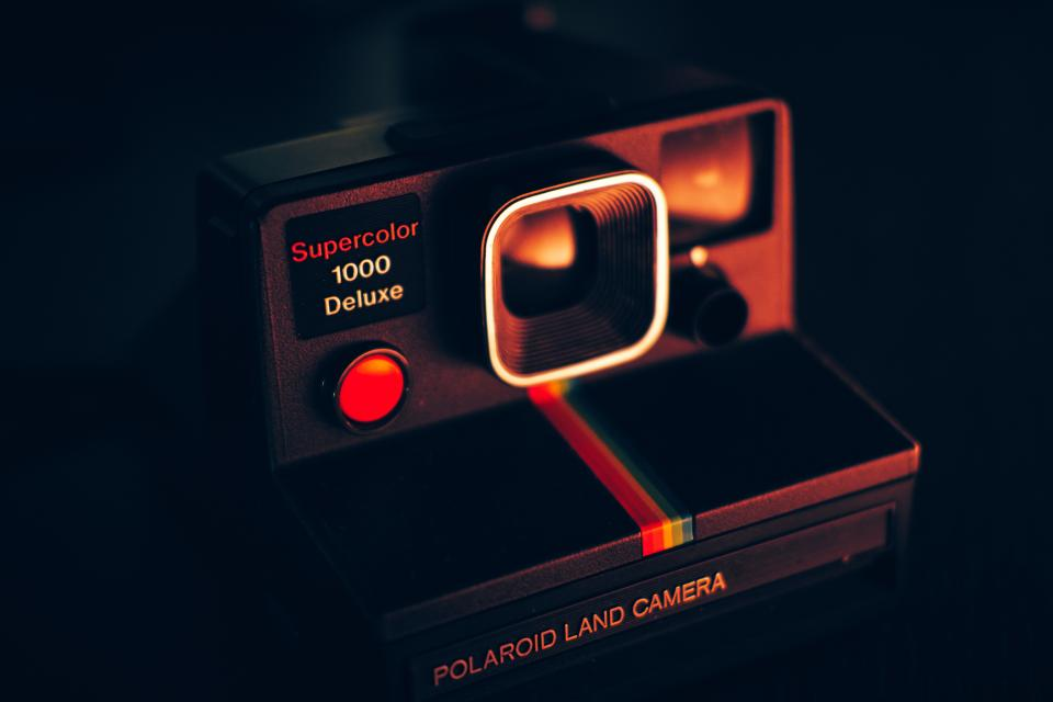 polaroid camera photography technology dark night light
