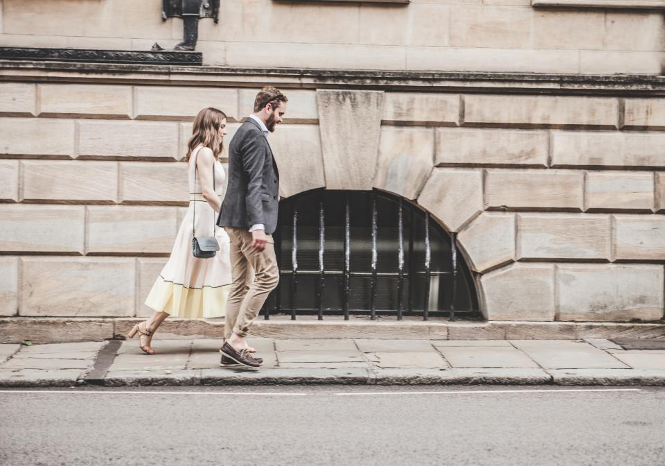 people couple love fashion beauty formal dress suit walls street pedestrian