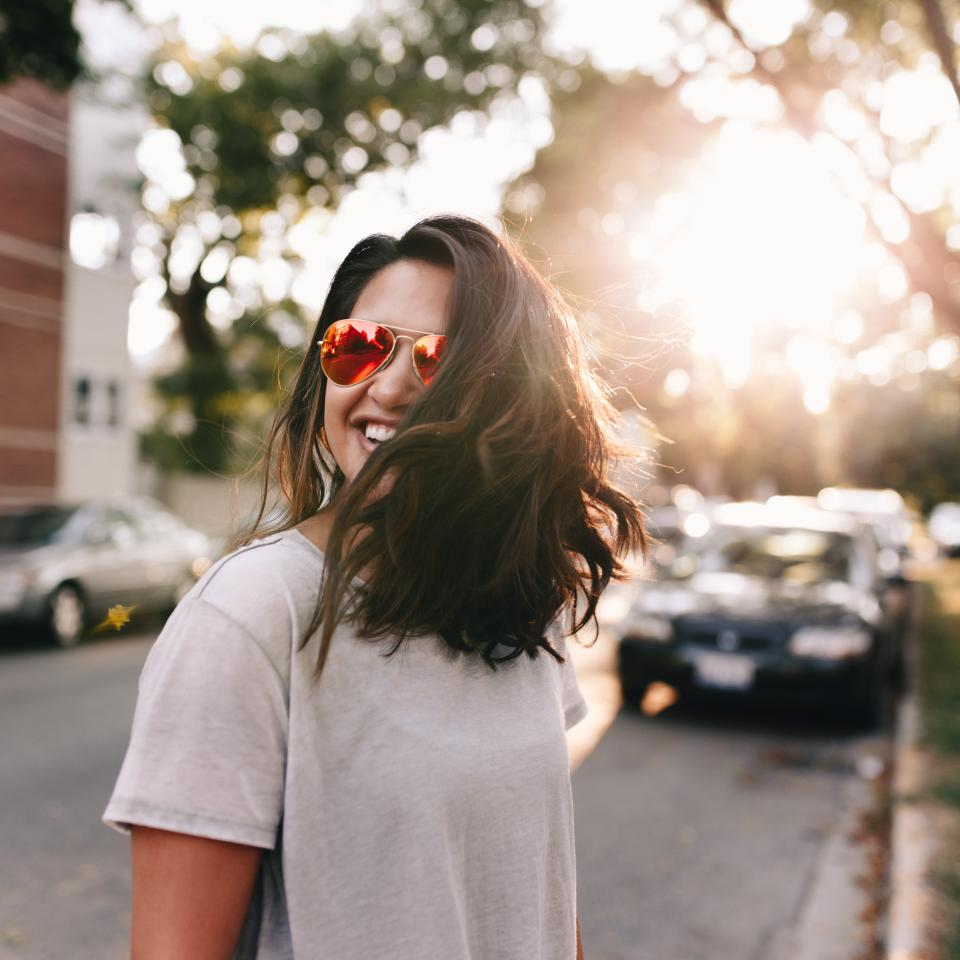 sunglasses eyeglasses people woman smile happy nature bokeh car vehicle parking