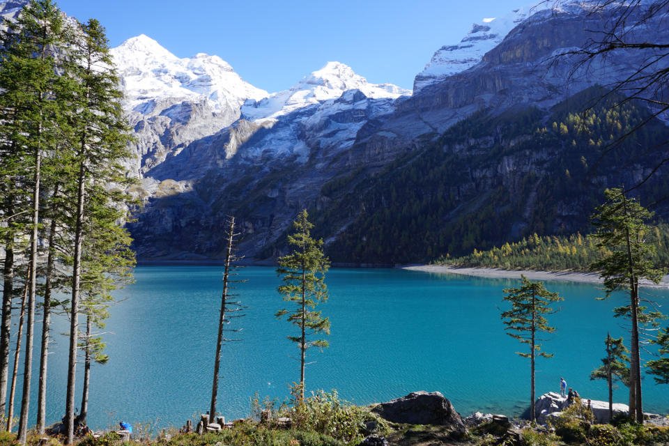 mountain lake Swiss snow water blue green tree forest wood leaf snow peak nature travel
