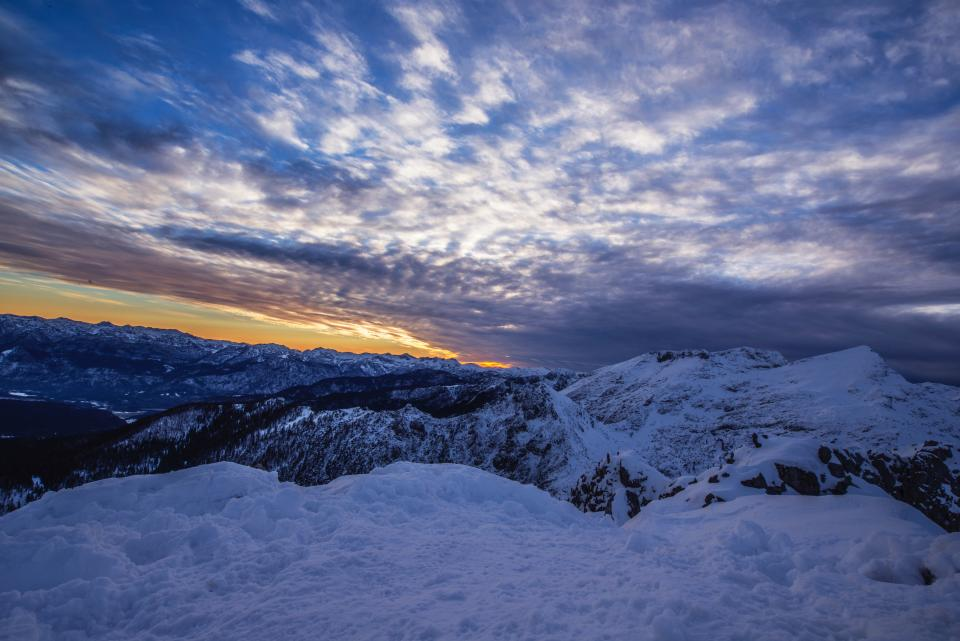 snow winter white cold weather ice clouds sky sunset mountain trek travel adventure