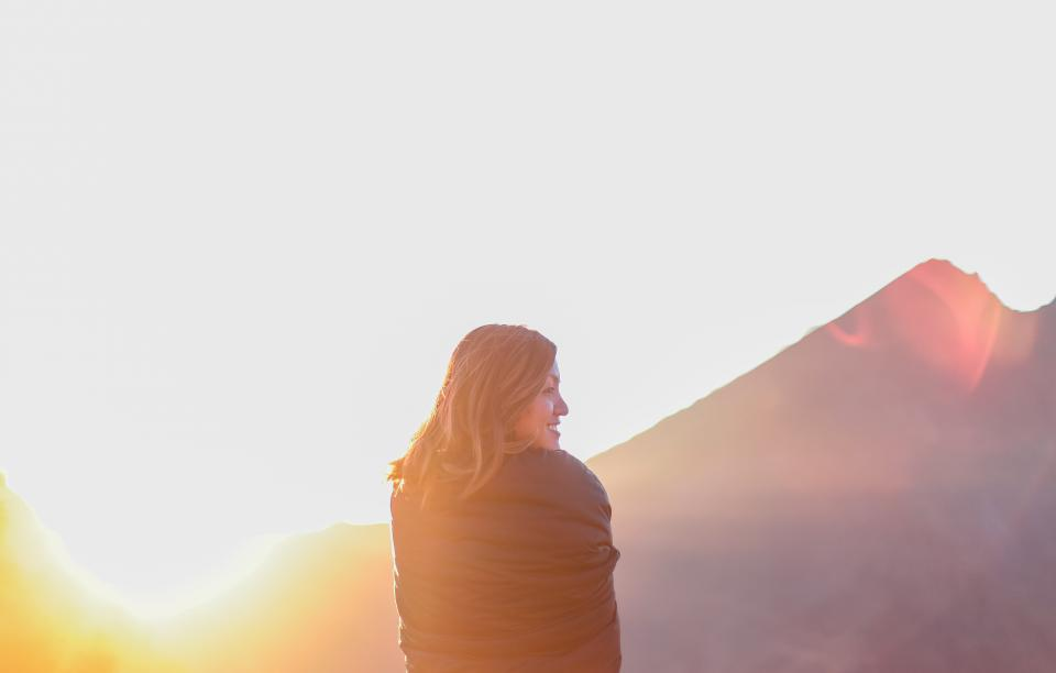 girl woman smiling happy sunset mountains smile