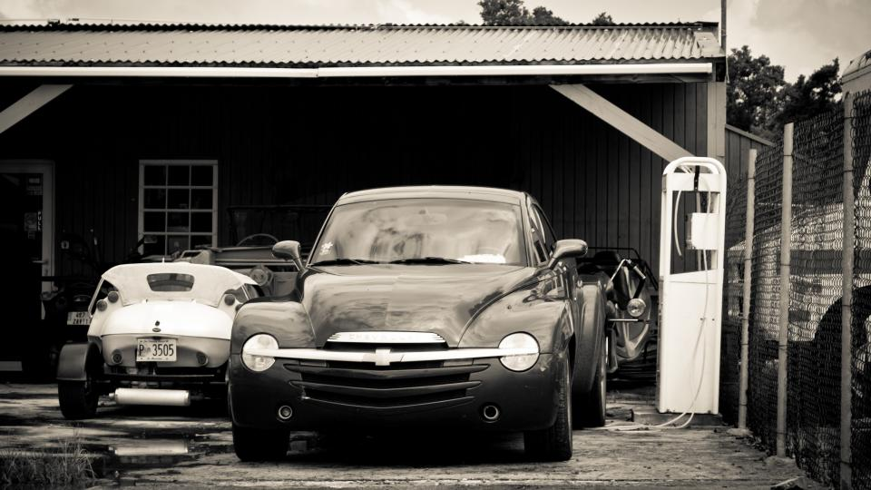 cars vintage garage driveway automotive black and white