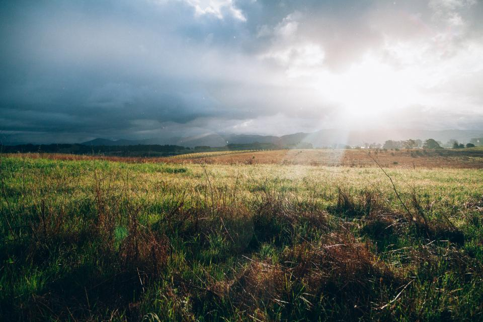 grass field rural countryside landscape nature sunbeams sun rays clouds cloudy sky outdoors