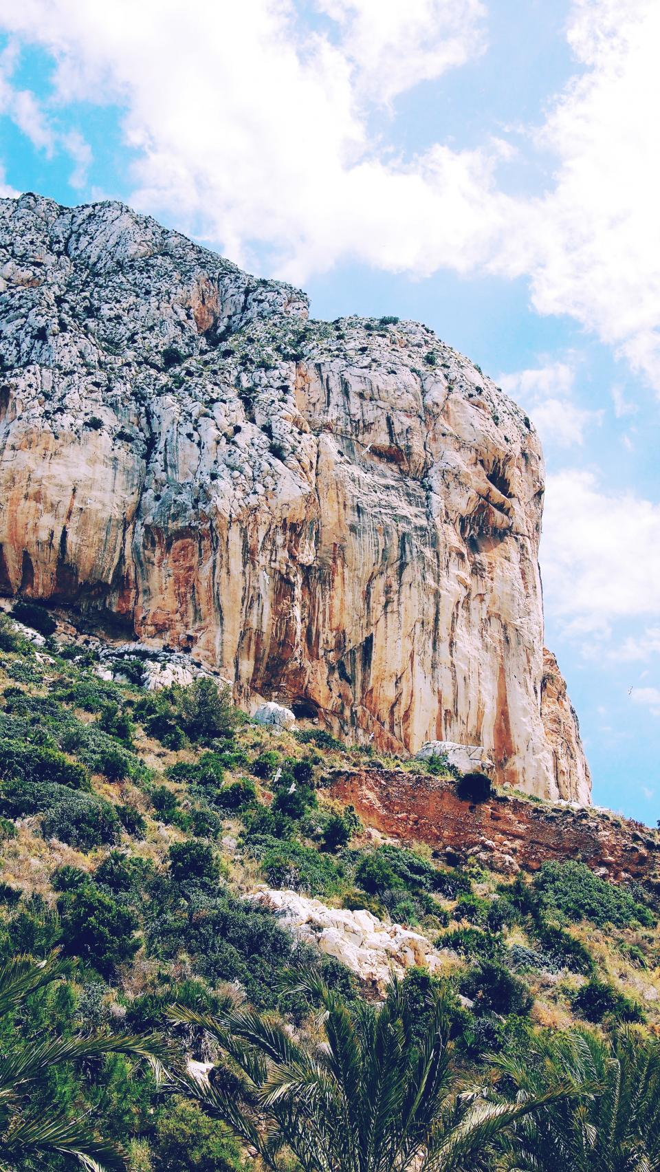nature trees green mountain rock formation clouds sky travel adventure