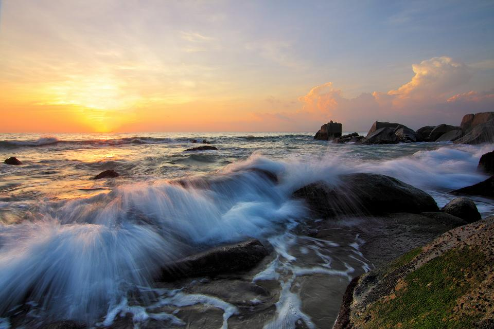 rocks sea water coast nature horizon cloud sky sunset cliff waves