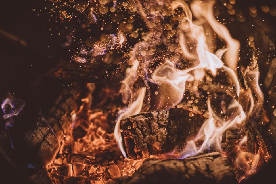 fire flame light firewood charcoal ash heat bonfire campfire water