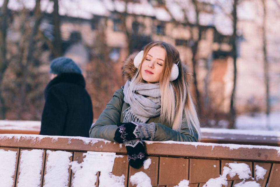snow winter white cold weather ice trees plants nature people woman scarf gloves beauty