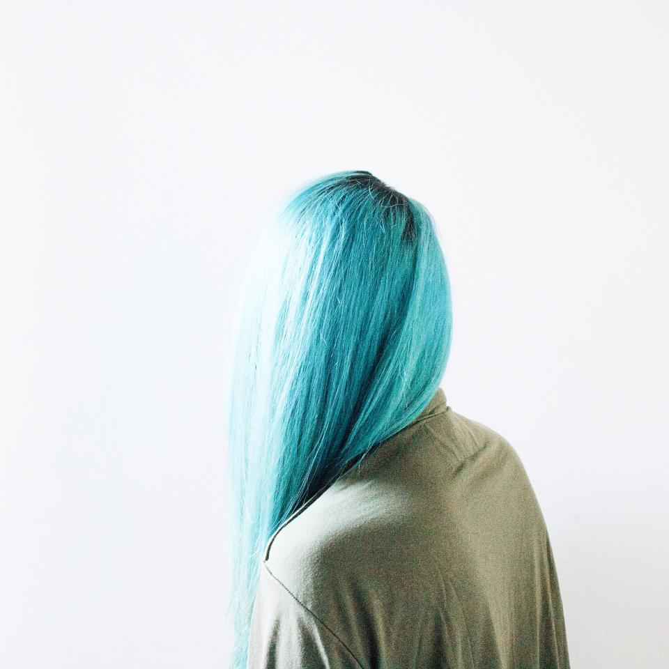 people woman hair dye blue