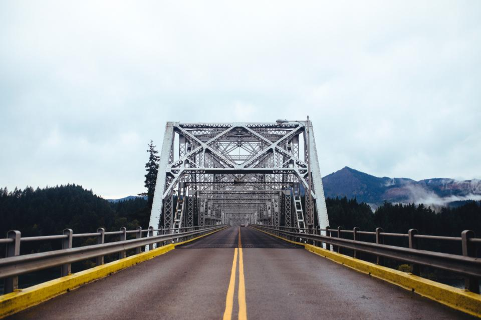 bridge structure infrastructure road trip travel outdoor nature landscape mountain view trees plants nature