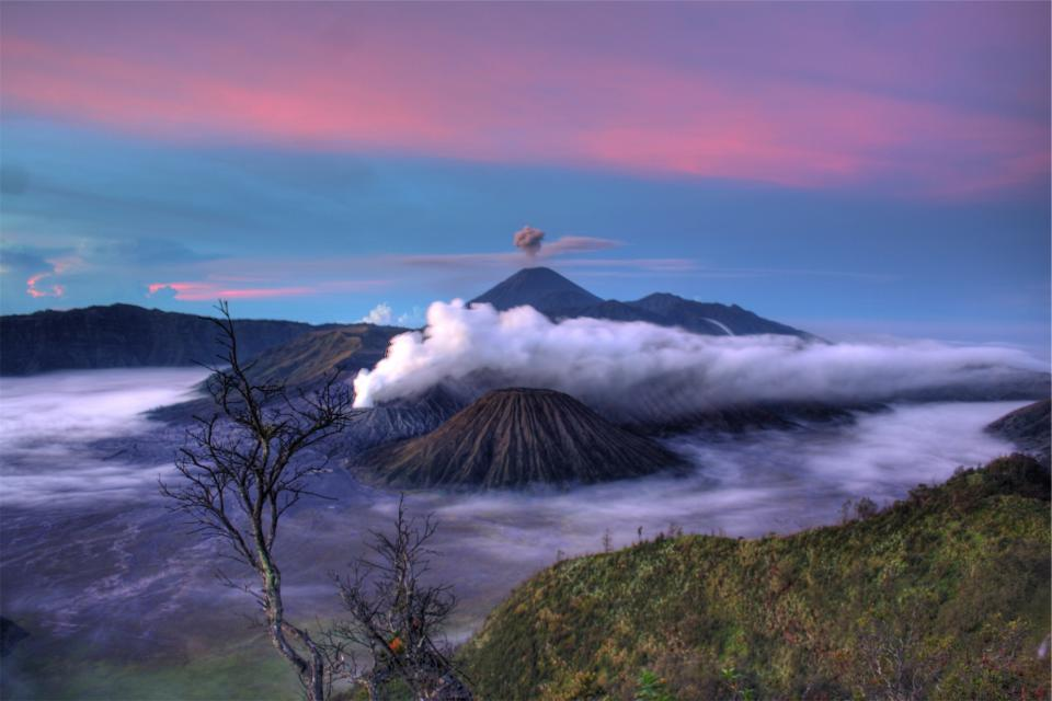 volcanoes smoke clouds purple blue sky landscape nature