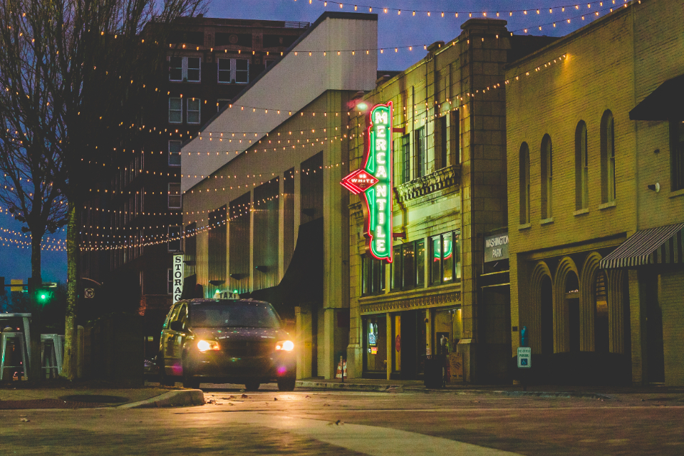 Street photography morning taxi downtown neon sign old town storm lights car vehicle