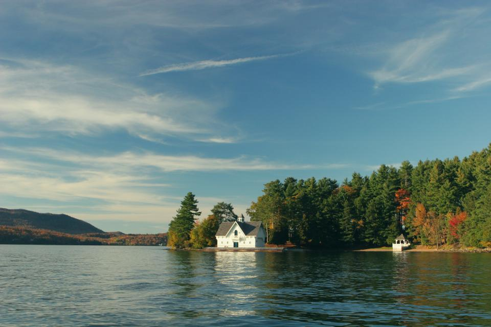 lake water house cottage country nature outdoors mountains forest trees autumn colors