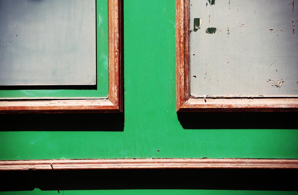 wood door green chipped