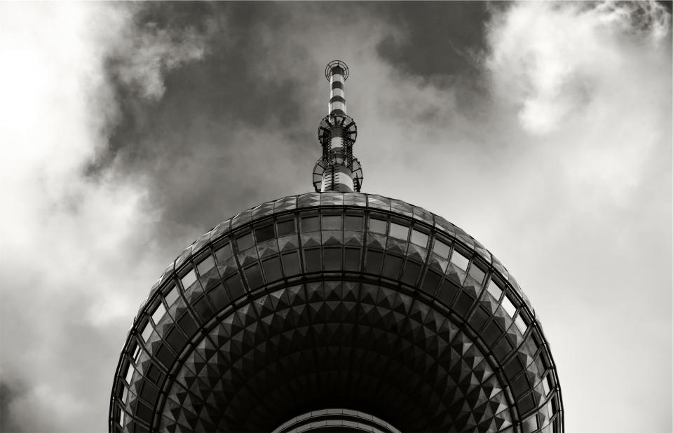 sky clouds tower architecture black and white