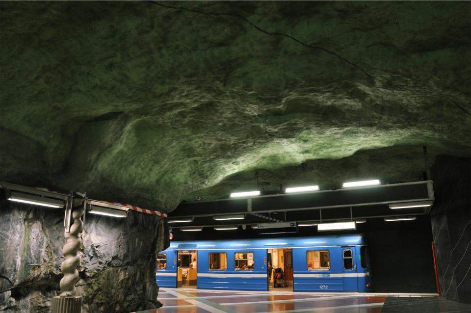 subway station train transportation underground ceiling cave