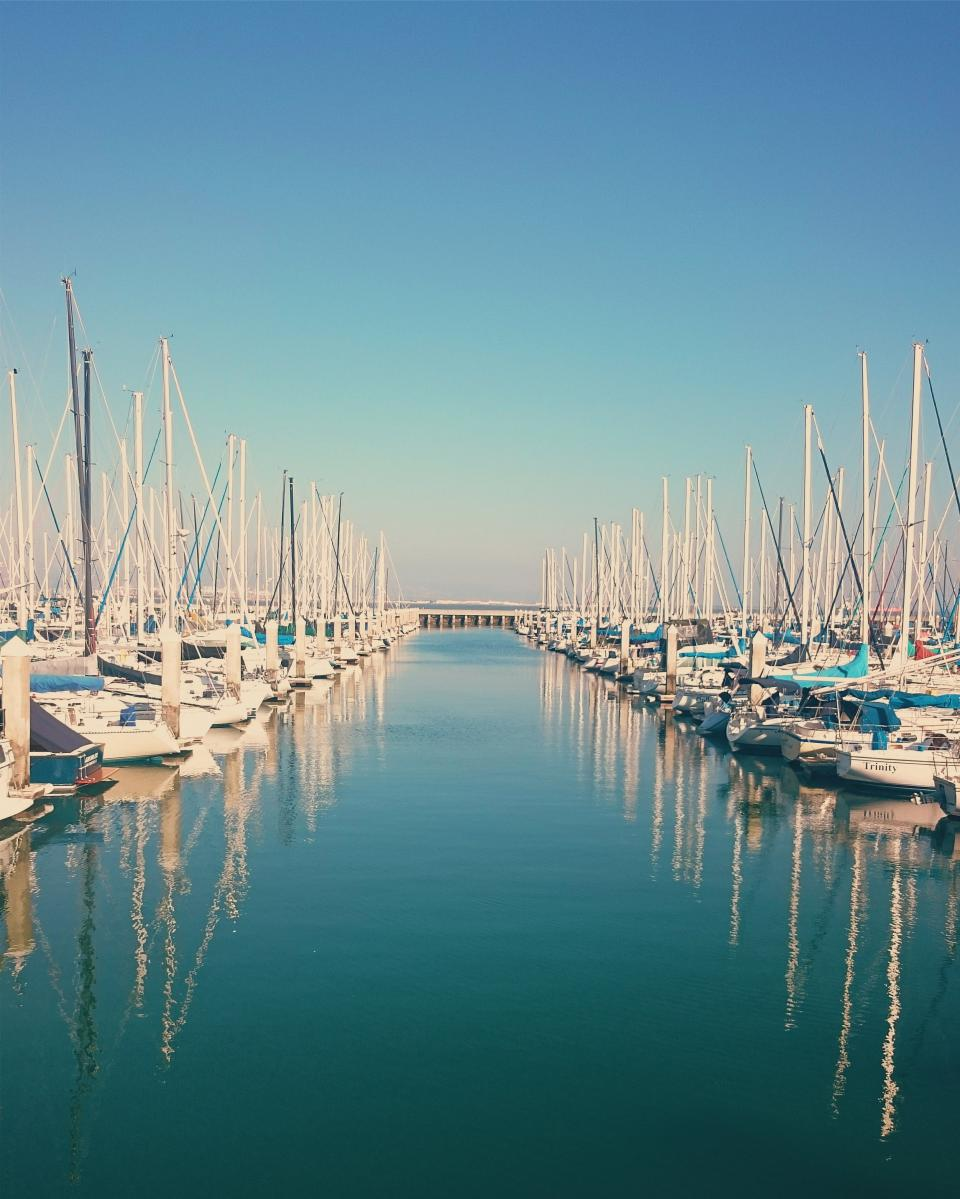 sailboats boating marina harbor harbour docks water reflection blue sky summer sunny