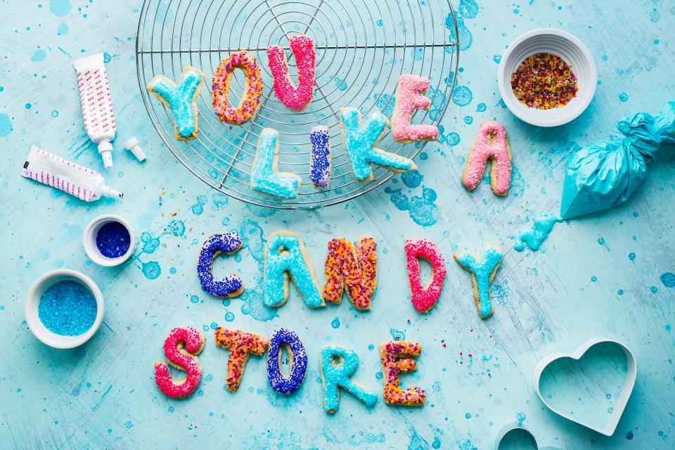 candy store sweet design art table pastry cookie spell