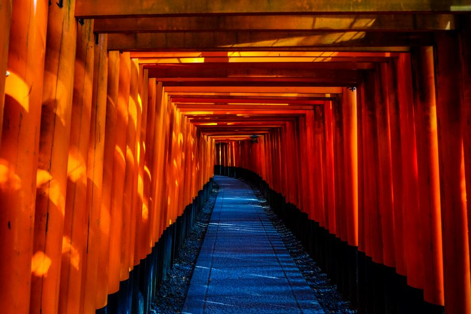 pathway tunnel pattern gravel torii fushimi inari shrine kyoto japan travel lamps orange vermilion tourist spot landmark