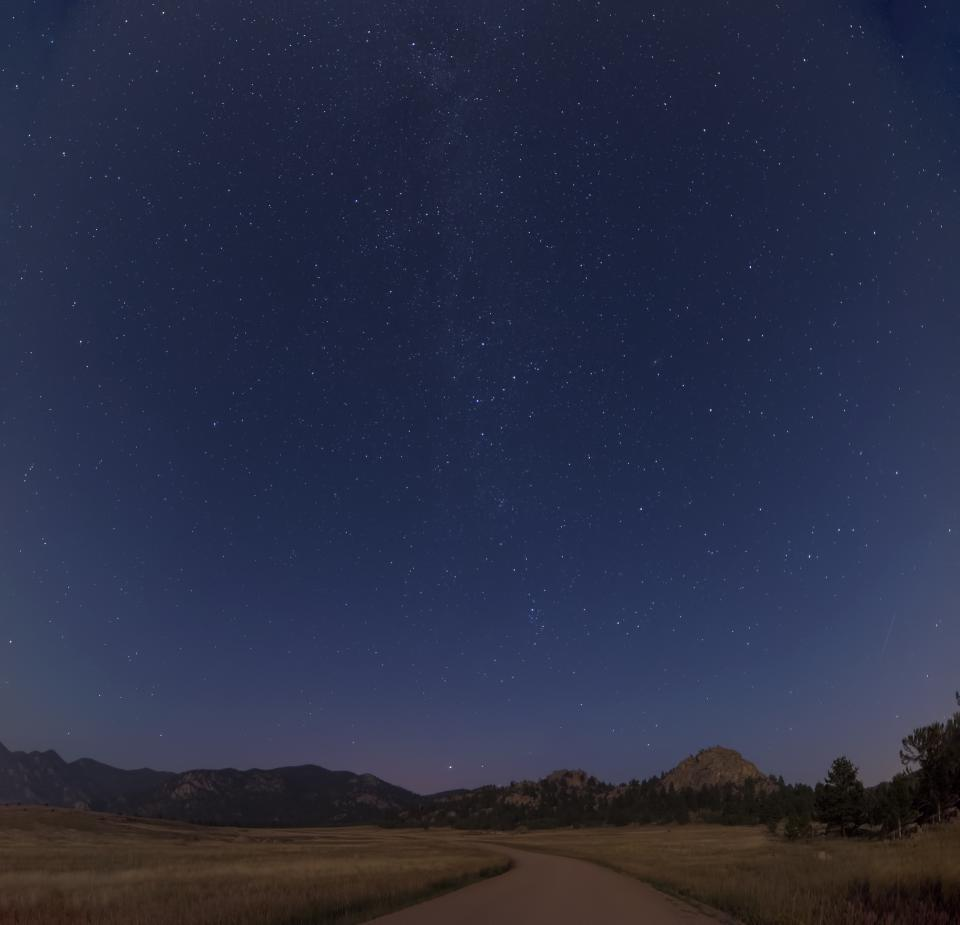 night sky stars evening galaxy road trail path rural countryside nature mountains