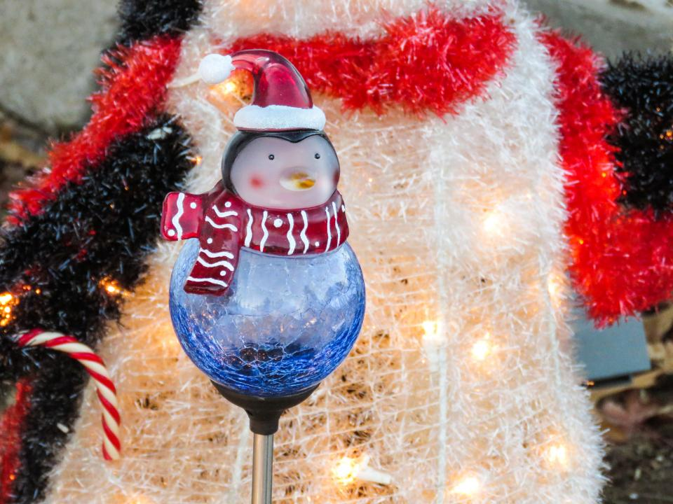 winter christmas decorations lights penguin hat scarf