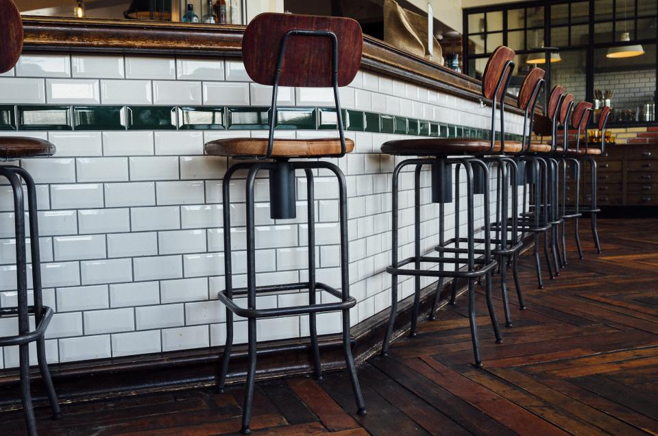 stools hardwood bar tiles seat restaurant hostel