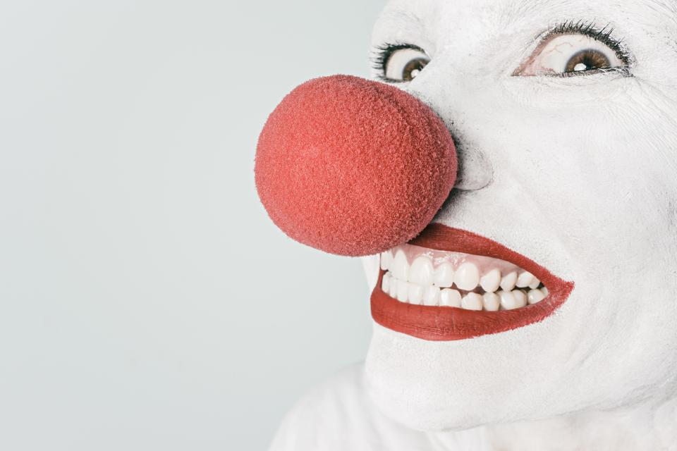 clown makeup red nose lipstick white