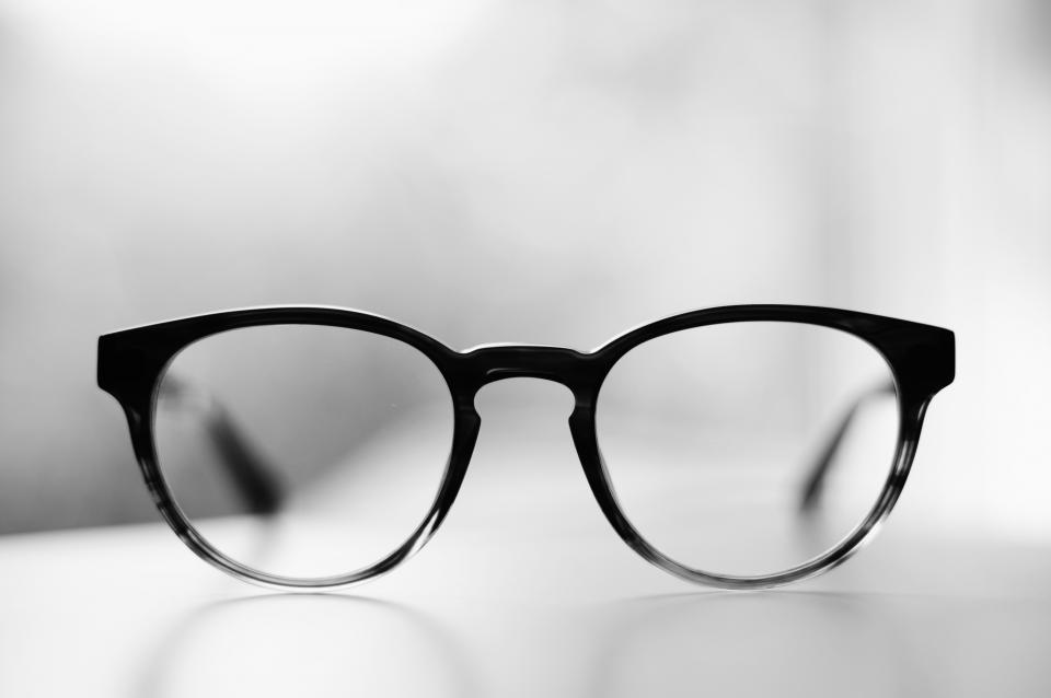 eyeglasses frame lens grade black and white monochrome