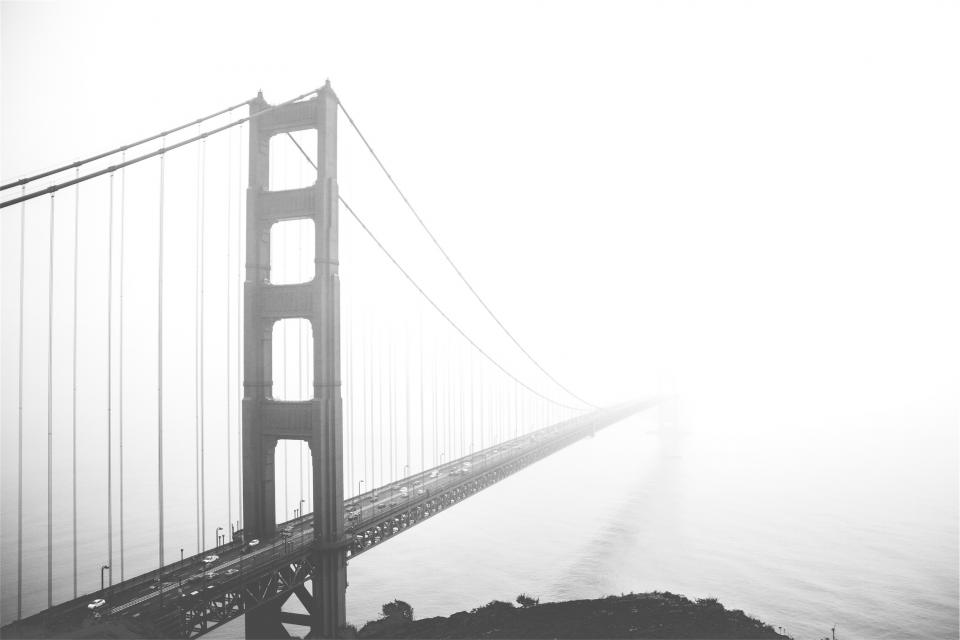 Golden Gate Bridge San Francisco architecture fog black and white