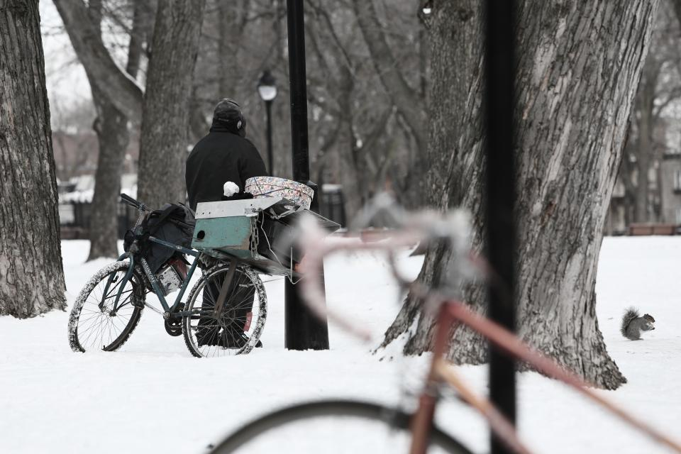 snow winter cold bike bicycle homeless man trees tree trucks bark lamp posts