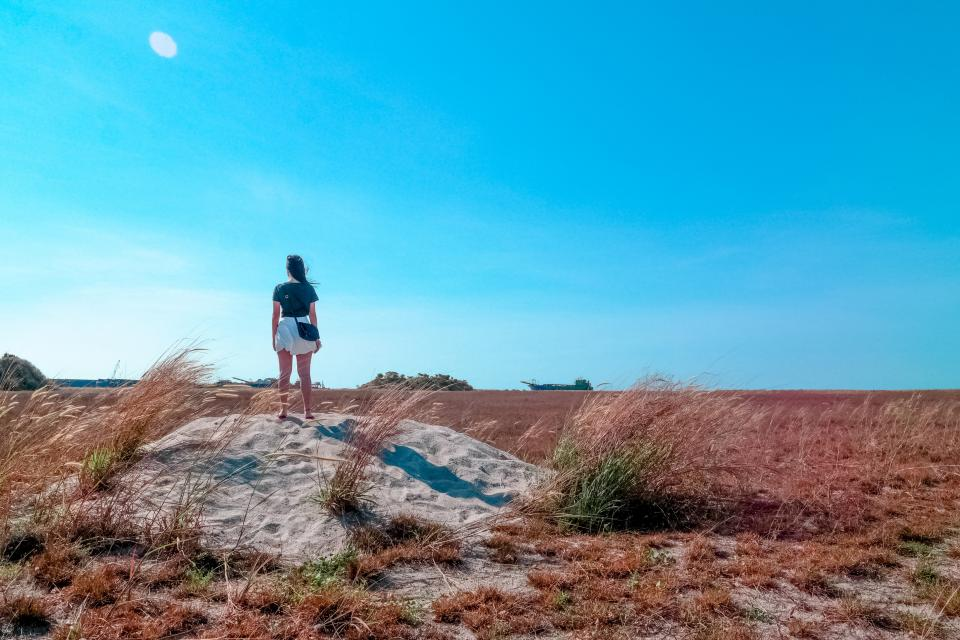 woman girl lady people back contemplate stand nature ground soil grass sky horizon clouds