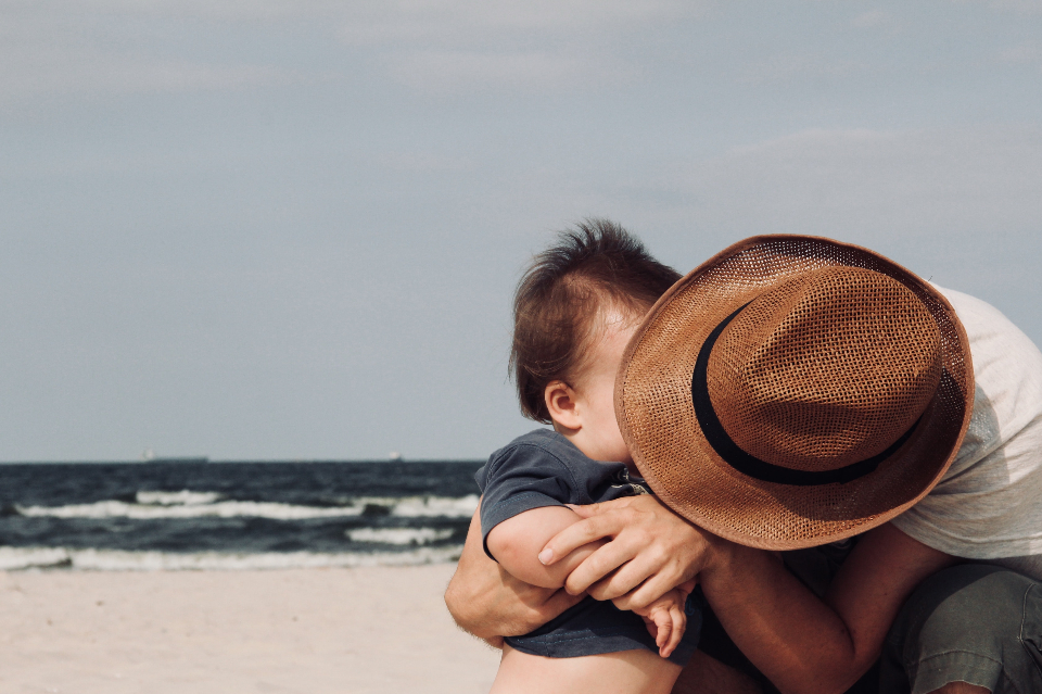 father son beach hat sea ocean family male man boy child toddler baby