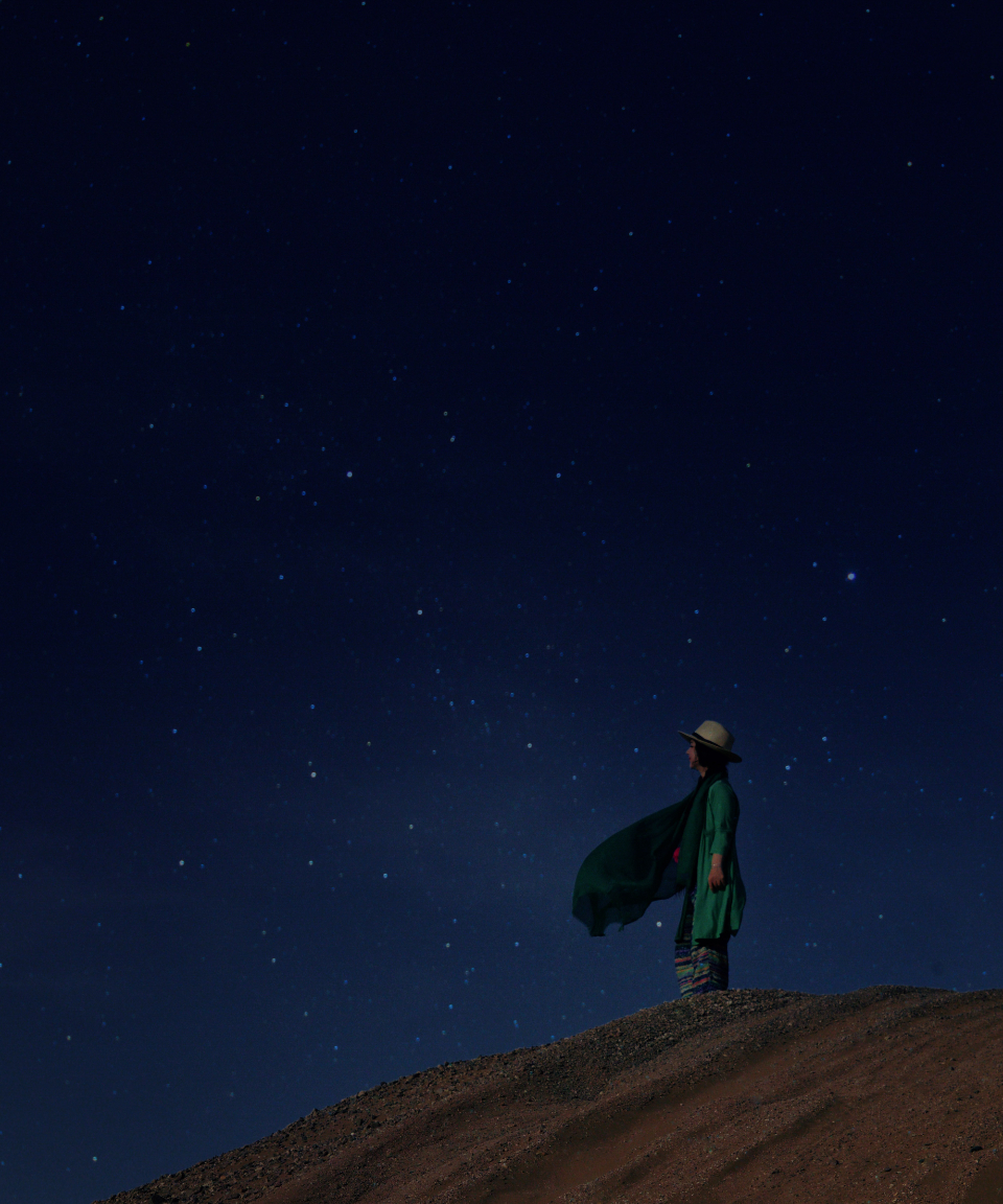 woman stars sky night nature outdoors sand constellations alone