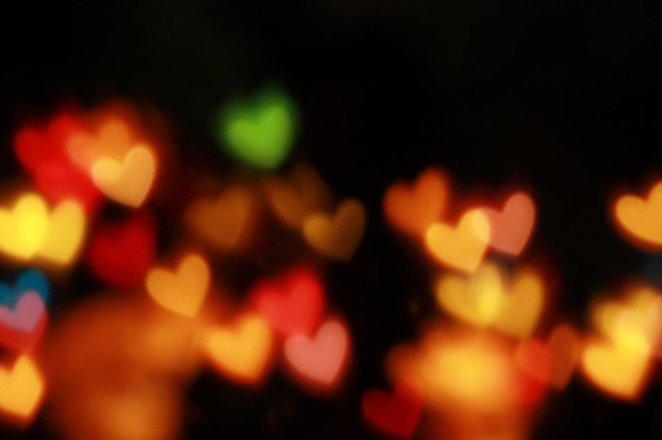 bokeh lights night dark photography christmas holiday festival heart
