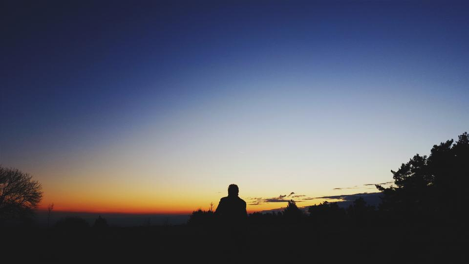 people man silhouette alone sunset sad blue clouds sky trees