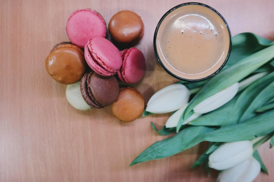 macaroons coffee dessert food tulips flowers