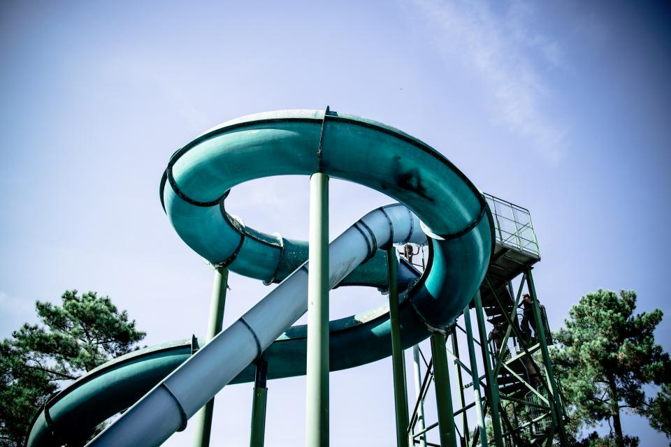 fun travel slides waterpark waterslide nature trees sky clouds