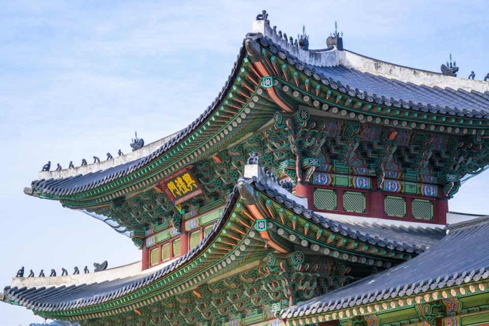 architecture castle gyeongbokgung Gyeongbok palace Korea colors patters shingles art sky clouds