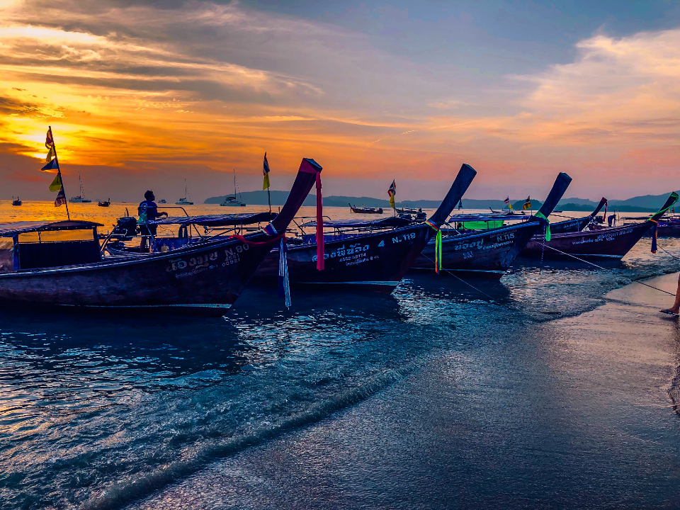 Thailand sunset sky clouds beach boat sea ocean water sunset sun clouds travel