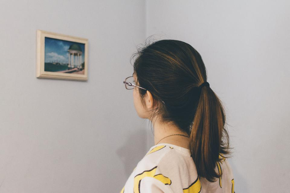 people woman eyeglasses frame art wall picture