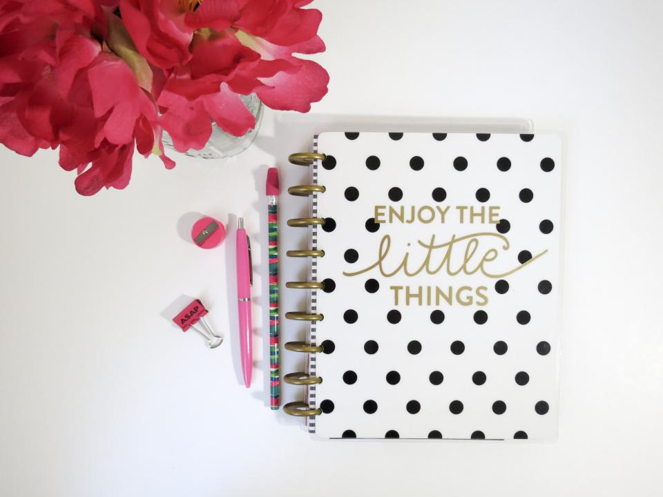 notebook notes pens table white letters rose flower red petals sharpener pencil eraser