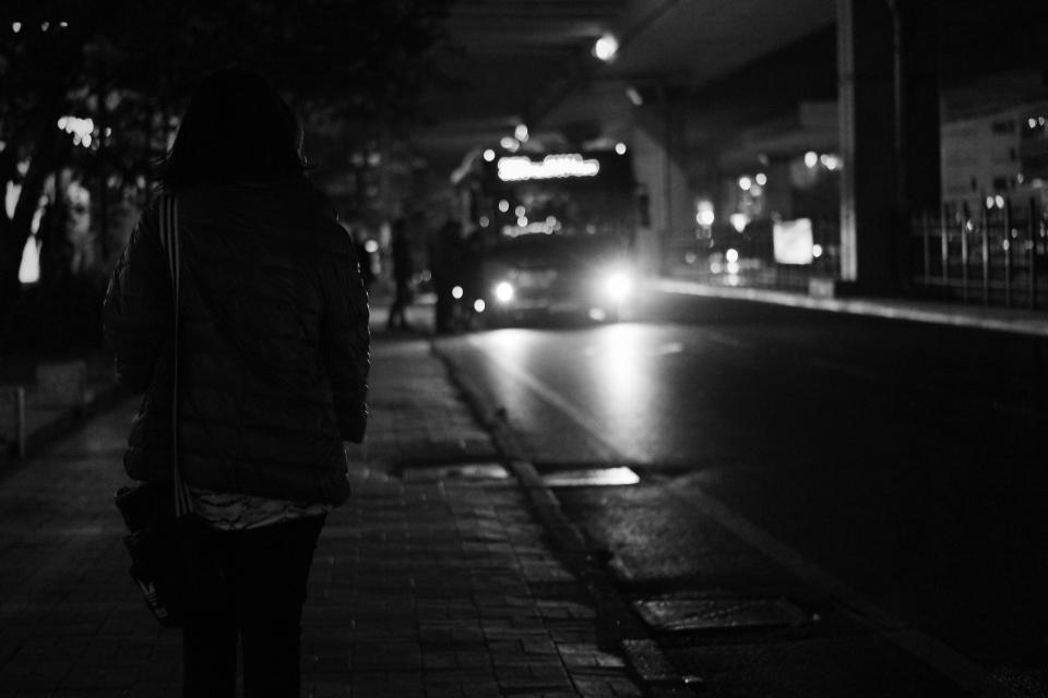 bus transportation vehicle road dark night black and white monochrome