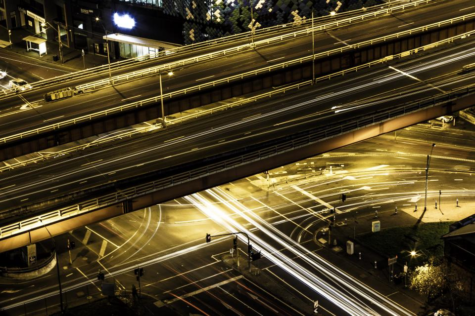 architecture infrastructures expressways highways skyways lamps lights posts streaks lines long exposure bulb photography