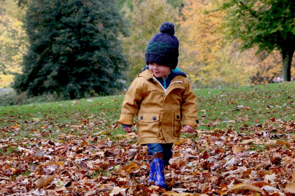 people kid child baby happy boy cold weather autumn fall sumer bonnet leaves green park trees
