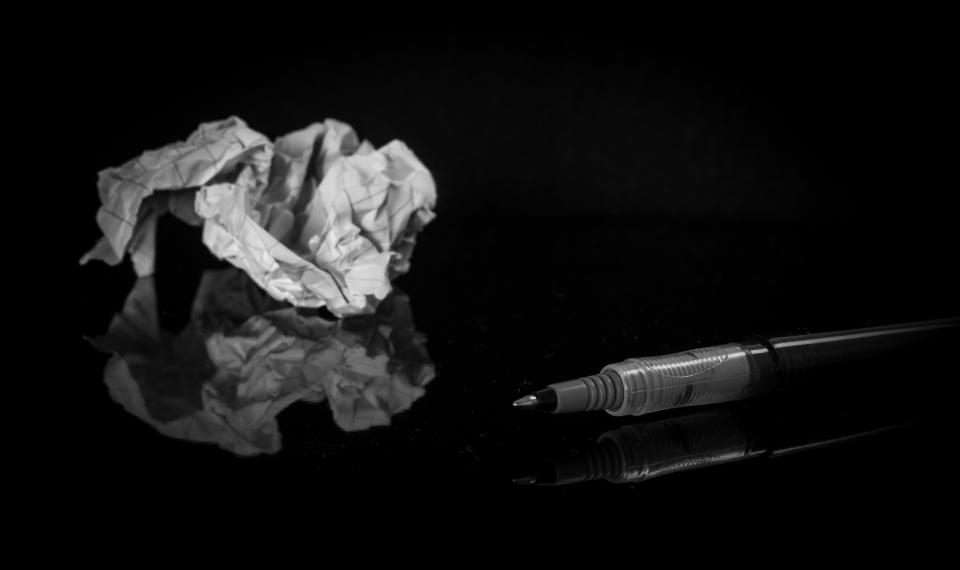 scratch crumpled paper pen black and white reflection