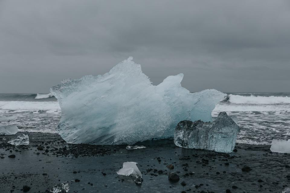 nature landscape water ocean sea waves current dark ice glacier
