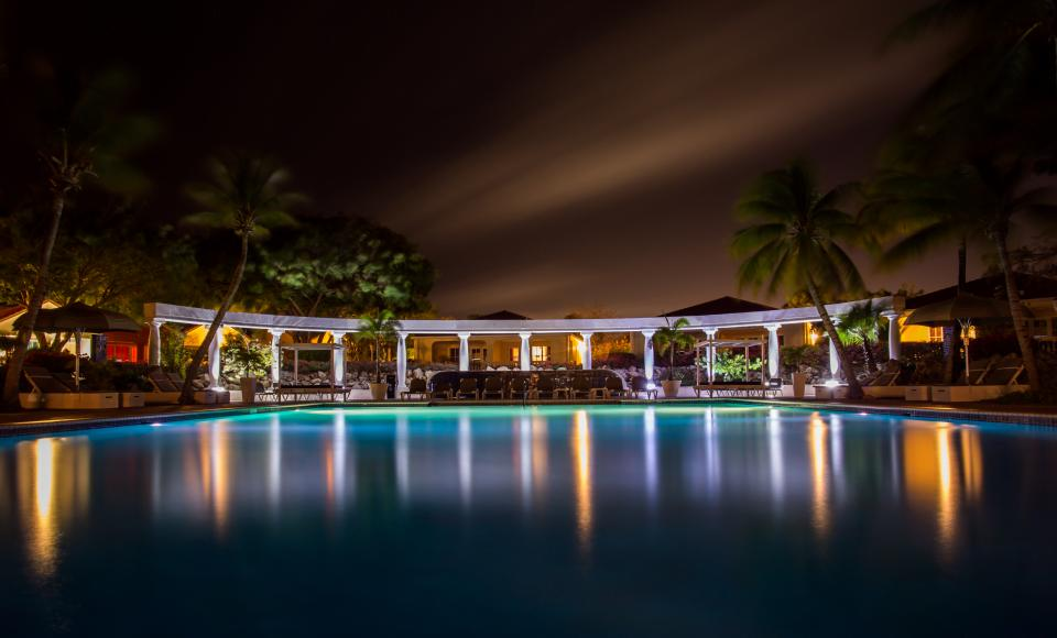 swimming pool night dark lights palm trees