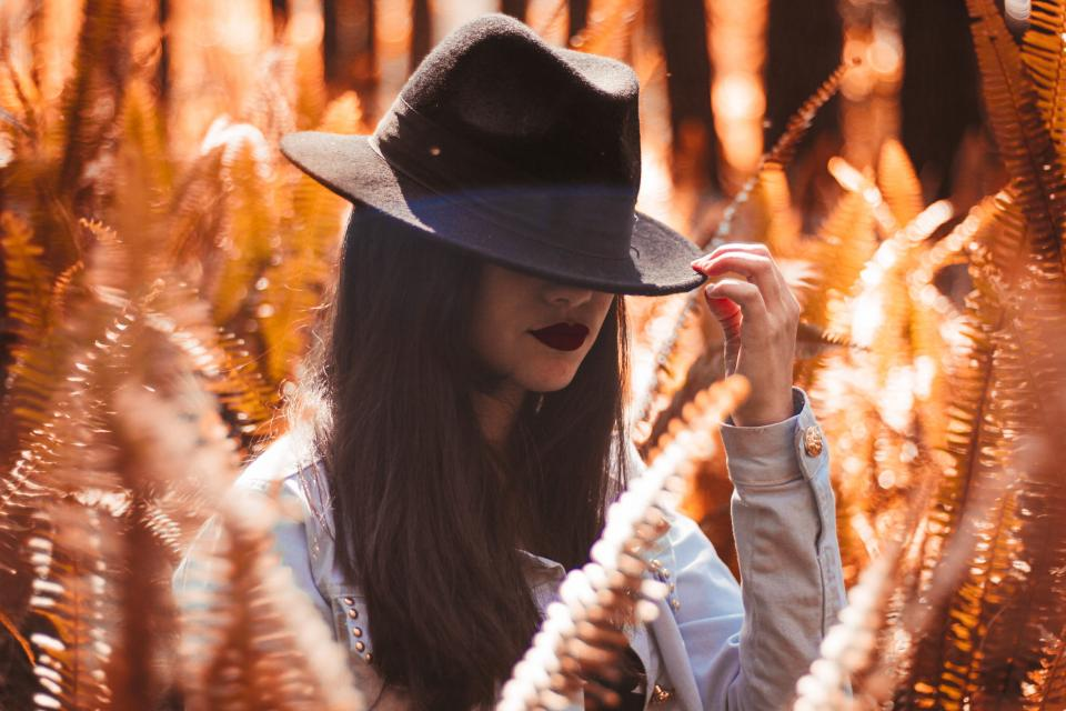 people girl woman hat cap fashion beauty field plants sunny sunlight ferns bokeh