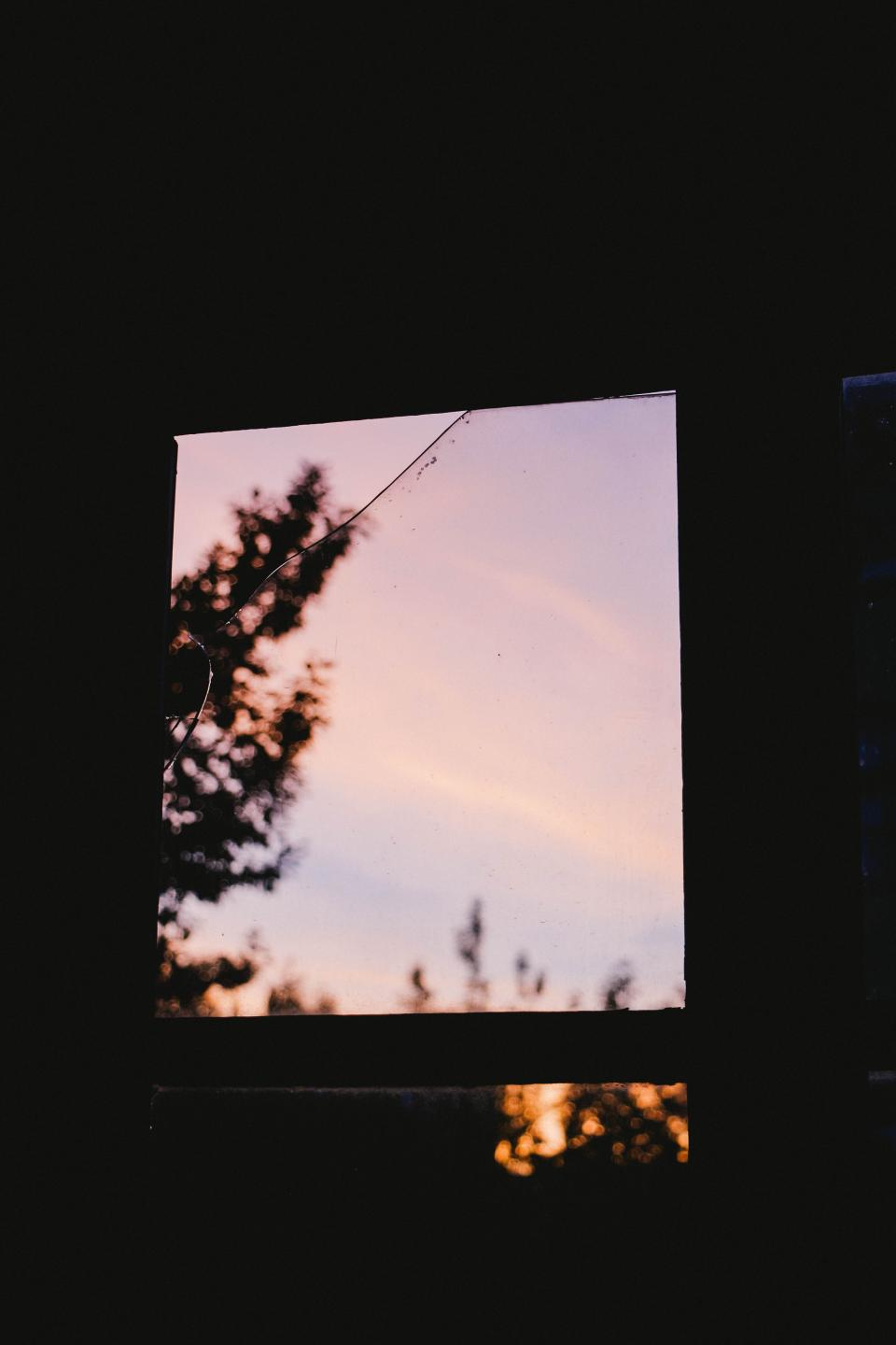 dark room window glass outside view tree bokeh sunset