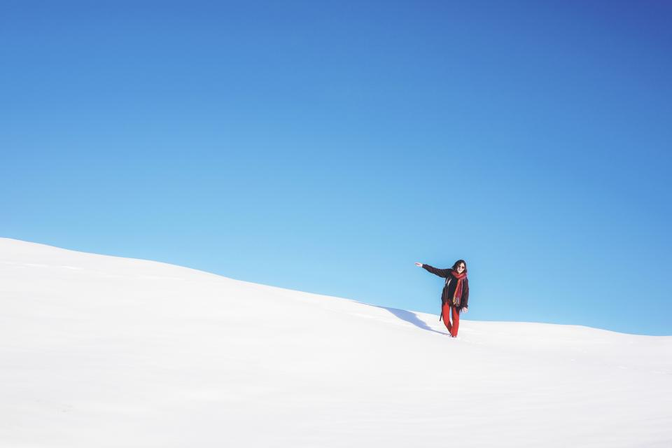 snow winter highland landscape nature mountain blue sky people woman travel vacation